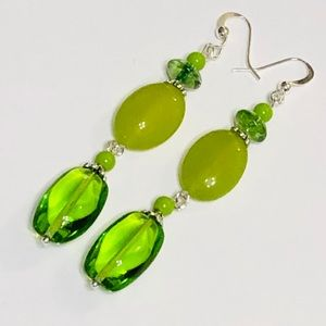 Zesty Lime Green Czech Glass & Jadeite Earrings